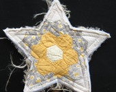 Shabby Chic Christmas Tree Top Star from Vintage Quilt