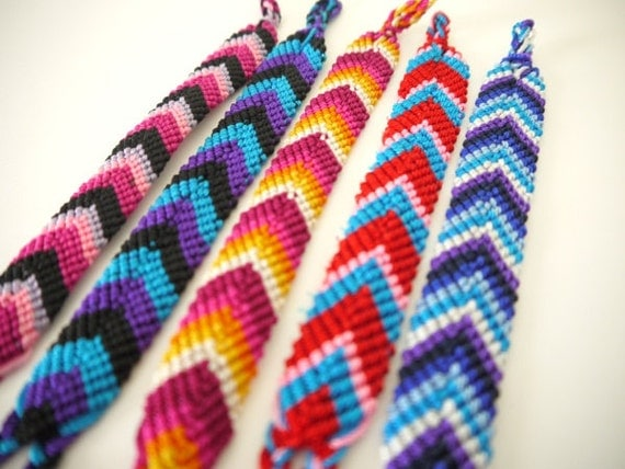 Friendship Bracelets, Wide, Chevron Pattern, Bright Colors, SET OF 5
