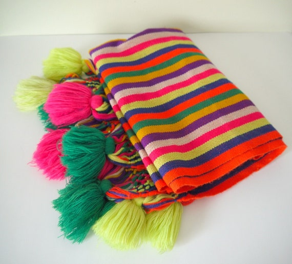 RESERVED FOR cindy -- Vintage South American Textile, Woven Blanket, Bright Colors, Tassels