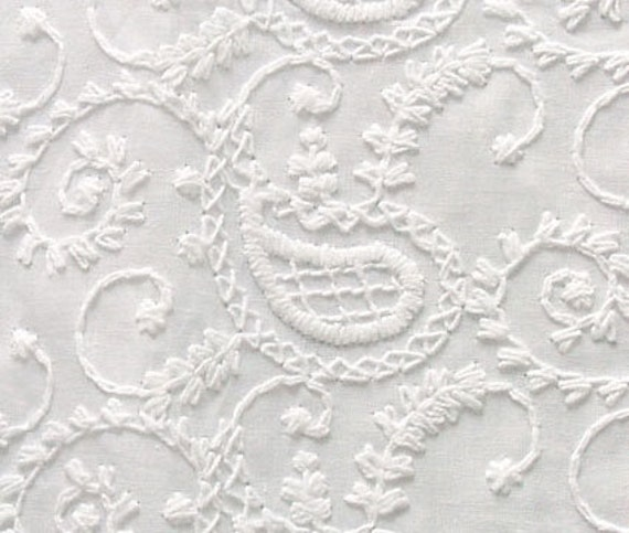 Embroidered Cotton Fabric. White-on-White. Or You Can Dye It. Paisley