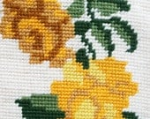 Vintage Needlepoint Bell Pull Yellow Roses 1960's Vintage Bell Pull Vintage 1960s Needlepoint