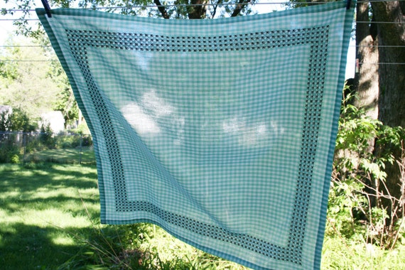 Vintage Checked Tablecloth Embroidered 1950s Rockabilly Style Aqua and White