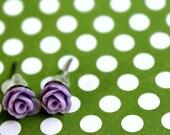 Itty Bitty Baby Buds Purple Cabochon Stick Earrings