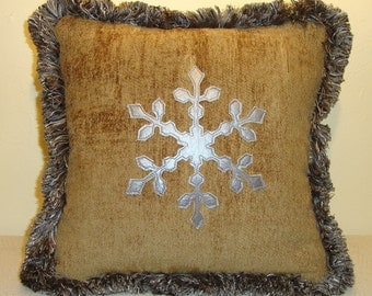 """Platinum Leather Snowflake Pillow on Similar Gold Chenille with Platinum/Gray Fringe and Similar Off-White Back with Down Fill.  12"""" x 12"""""""