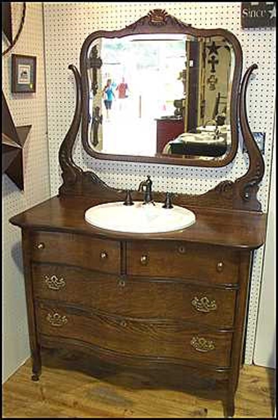 Items similar to antique bathroom vanity cd1828 on etsy - Bathroom vanities made out of old dressers ...