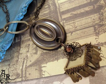 SALE The Dollie Collection... Vintage Brass & Copper Assemblage Necklace of Salvage