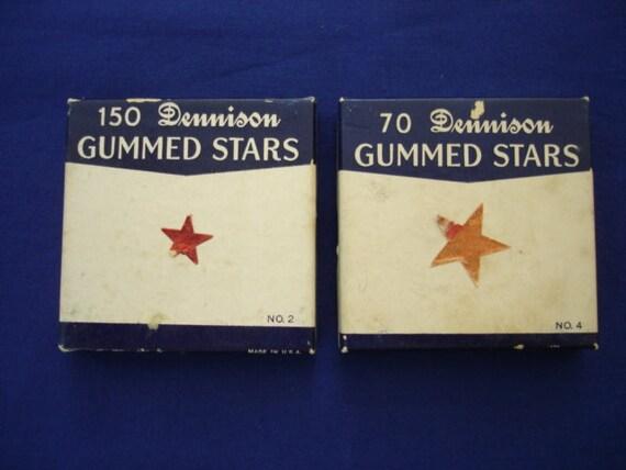 Dennison Gummed Stars, Red Foil, Two Boxes