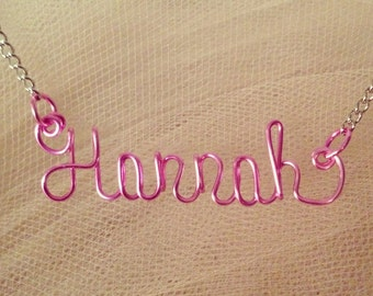 Personalized Color Wire Name Necklace Name Plate with ANY name