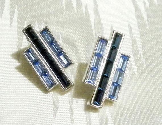 Vintage blue  rhinestone earrings from the eighties