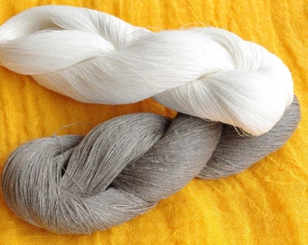 Linen yarn 200gr natural grey white yarn, hanks of yarn, laceweight yarn