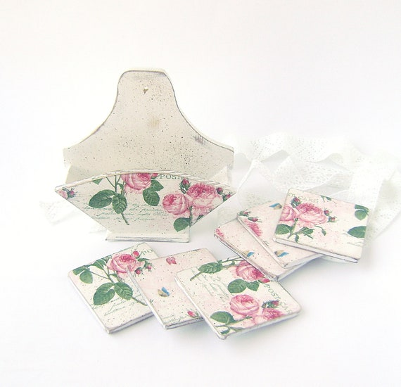 Set of 6 Wooden Drink Coasters and Napkin Holder Shabby chic Vintage Style Cottage chic Home Decor White Distressed
