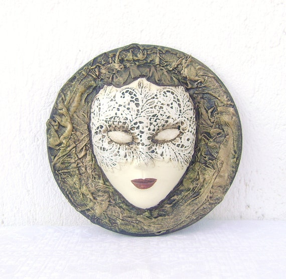 Venetian Mask / Decorative Ceramic Wooden Basis Hanging Lace Mask / Wall House Decor