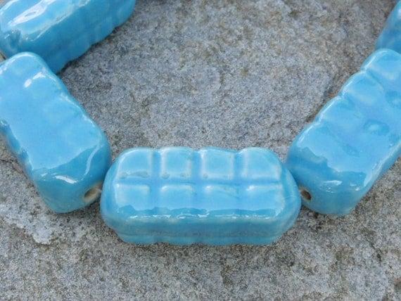 SALE - pkg of 2 - Light Blue Porcelain Textured Square Tube Bead 30x13mm