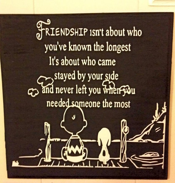 Friendship Quote Signs : Wooden charlie brown and snoopy friendship sign by therenthouse
