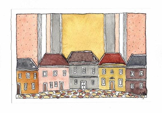 """Original Painting """" Village Street,October"""". Watercolor Painting. OOAK."""