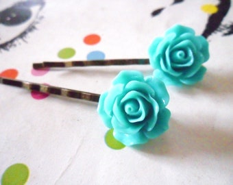 A Pair of  Teal Vintage Rose Bronze Bobby Pins  -  hair clips slides pins flower