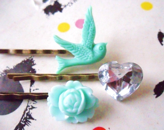 Sea Green and Mint, Swallow Bobby Pin Set  -  bronze hair clips slides pins grips heart vintage