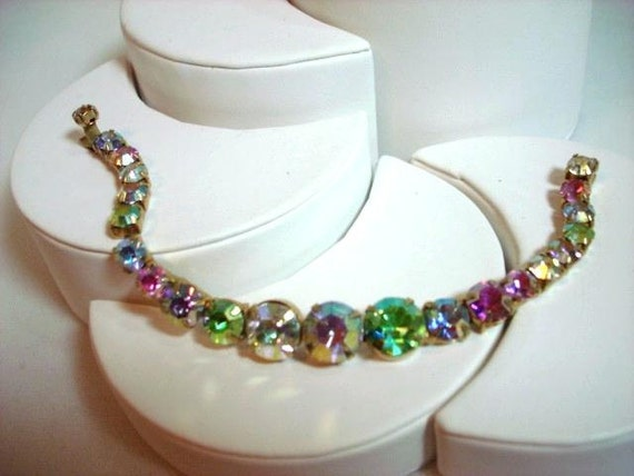 Pastel Rhinestone Bracelet Vintage - Irridescent   1399ag-012312000