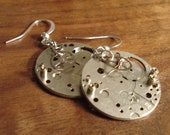 Handmade Vintage Watch Face Earrings - Silver Round Watch Movements