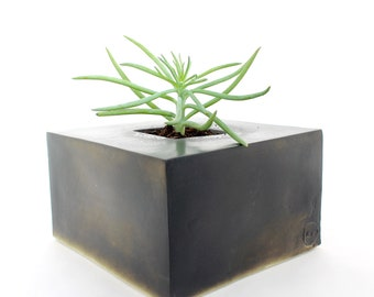 Copper Black Cube Planter