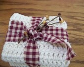 Set of Two 100 Percent Cotton Ecru Crochet Dish Cloths Packaged With Homespun Fabric And Pip Berries