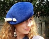 Millinery Beret- OOAK Royal Blue Velour Felt Beret For Women