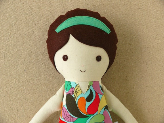 Fabric Doll Rag Doll with Shiny White Boots