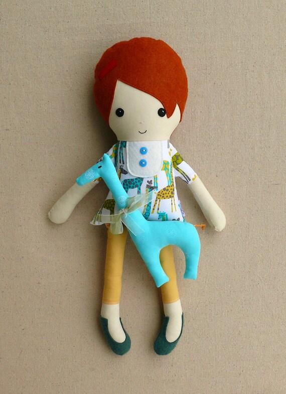 Fabric Doll Rag Doll Cloth Doll Girl with Blue Giraffe