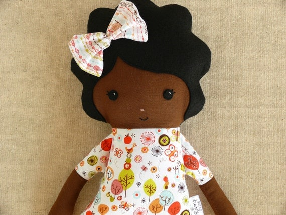 Fabric Doll Rag Doll with Black Hair and Forest Top
