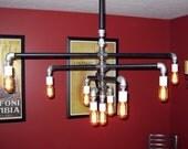 Industrial - Black & Galvanized Iron Pipe 9-Bulb Chandelier