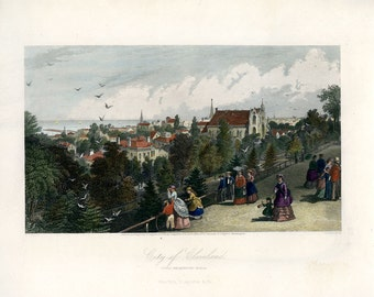 CLEVELAND, Ohio, Historic Antique Hand Colored Steel Engraving, 1872, Appleton, in GORGEOUS Condition