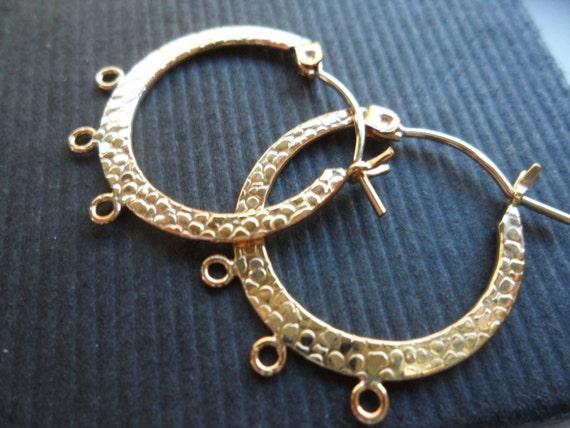 One Pair - Medium 14k Gold Filled Textured Hoop Earrings - 23.5mm - Destash - Findings - Supplies - Discontinued
