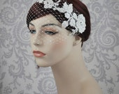 Birdcage Veil, Bird Cage Veil, Lace Bandeau Veil with pearls, French Netting Veil, Retro, Vintage Style Veil, ivory, white - 103BC