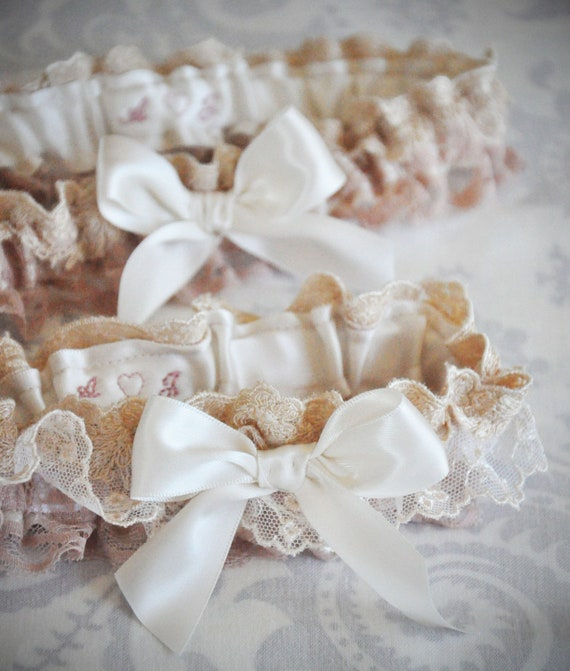 Ivory Garter Set, Personalized Garter Set, Blush Garter, Ivory Garter, Champagne Garter, Garter with custom initials, Lace Garter Set - 108G