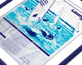 Laser Sailboat Screen Print Poster Printed on Used Sail Cloth 18x24