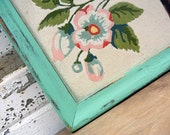 SALE - Framed ART -  Colorful Birds in a Cherry Blossom Tree Beautiful Aqua Mint Distressed Frame
