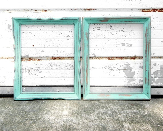11x14 frame set wavy and plain aqua mint frames vintage 11 x 14 shabby