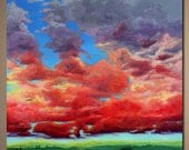 """Original Acrylic Painting Abstract Landscape Sky and Field """"A Long Time Coming"""" 30x40 Discounted Danielle Marie"""