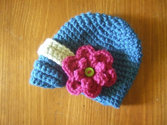 Beanie Hat With Bill Crochet Pattern : Crochet hat with bill and flower by BlakesBeanies on Etsy