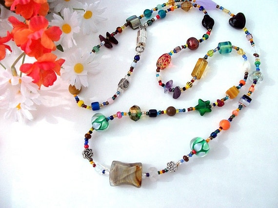 Toss On Medium Long Necklace, Size 1, Multi Color with Glass, Ceramic, Clay, Semi-precious, Metal, Shell, Metallic Beads and Magnetic Clasp