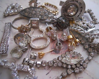 Antique and Vintage Salvage Rhinestone Jewelry Repair Assemblage Lot No.210