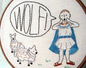 The Boy Who Cried Wolf - PDF Embroidery Pattern - Aesop's Fables - Includes Color and Stitch Guide