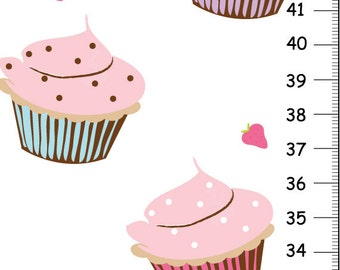 Cupcakes GIRL HEIGHT CHART Nursery Wall Art