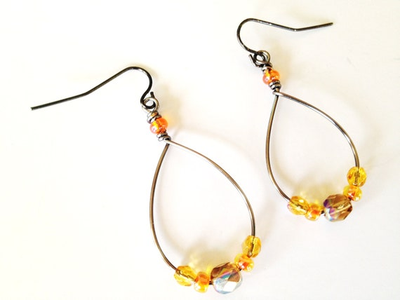 Autumn Breeze -Wire Wrapped Hoop Earrings