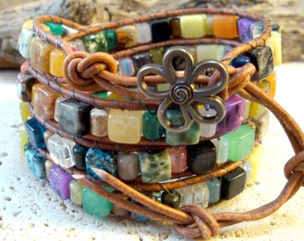 Mixed Gemstone 6mm Cubes & Drums Beaded Leather 4-Wrap Bracelet