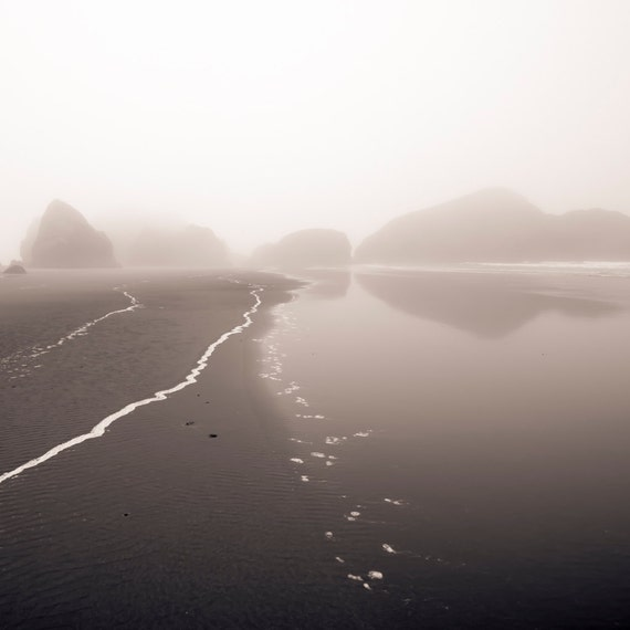 Foam Trail, Oregon Coast, black and white photography, fine art landscape photography, handmade, 8x8 inch print