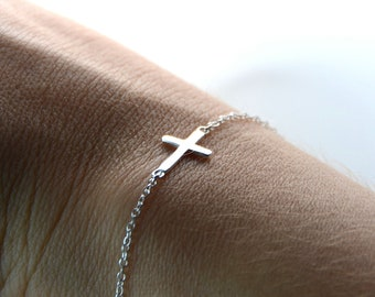 All Sterling Sideways Cross Bracelet, minimalist, jewelry, sterling , dainty , sideway
