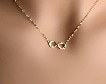 Sterling Silver Vermeil Infinity Necklace, Dainty Infinity Eternity Textured Jewelry