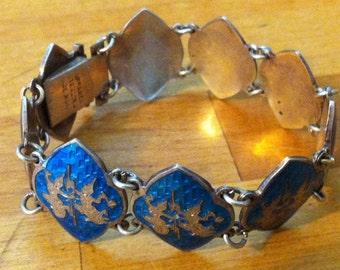 SALE 78.00  Good vs Evil Vintage Sea Blue Siam Guilloche Enameled Sterling : Heavy 27.3 Gram Panel Bracelet Was 88.00 SALE Now 78.00