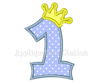Number One Crown1st Birthday Applique Machine Embroidery Design blue FIRST boy INSTANT DOWNLOAD